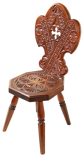 Victorian gothic chip carved hall chair c for sale