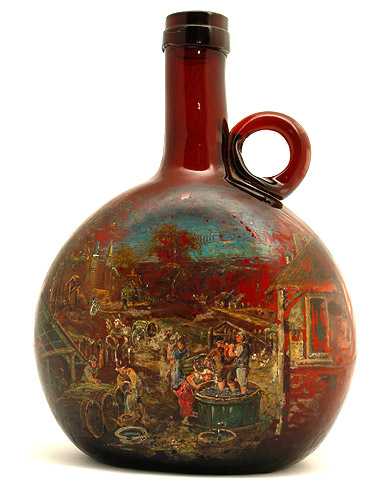 Dutch bottle painted with oil peasant scene c 1800 for Painting old glass bottles
