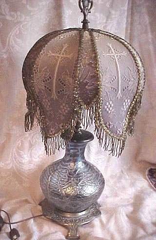 Gothic art glass lamp and custom shade for sale antiques gothic art glass lamp and custom shade for sale aloadofball Image collections