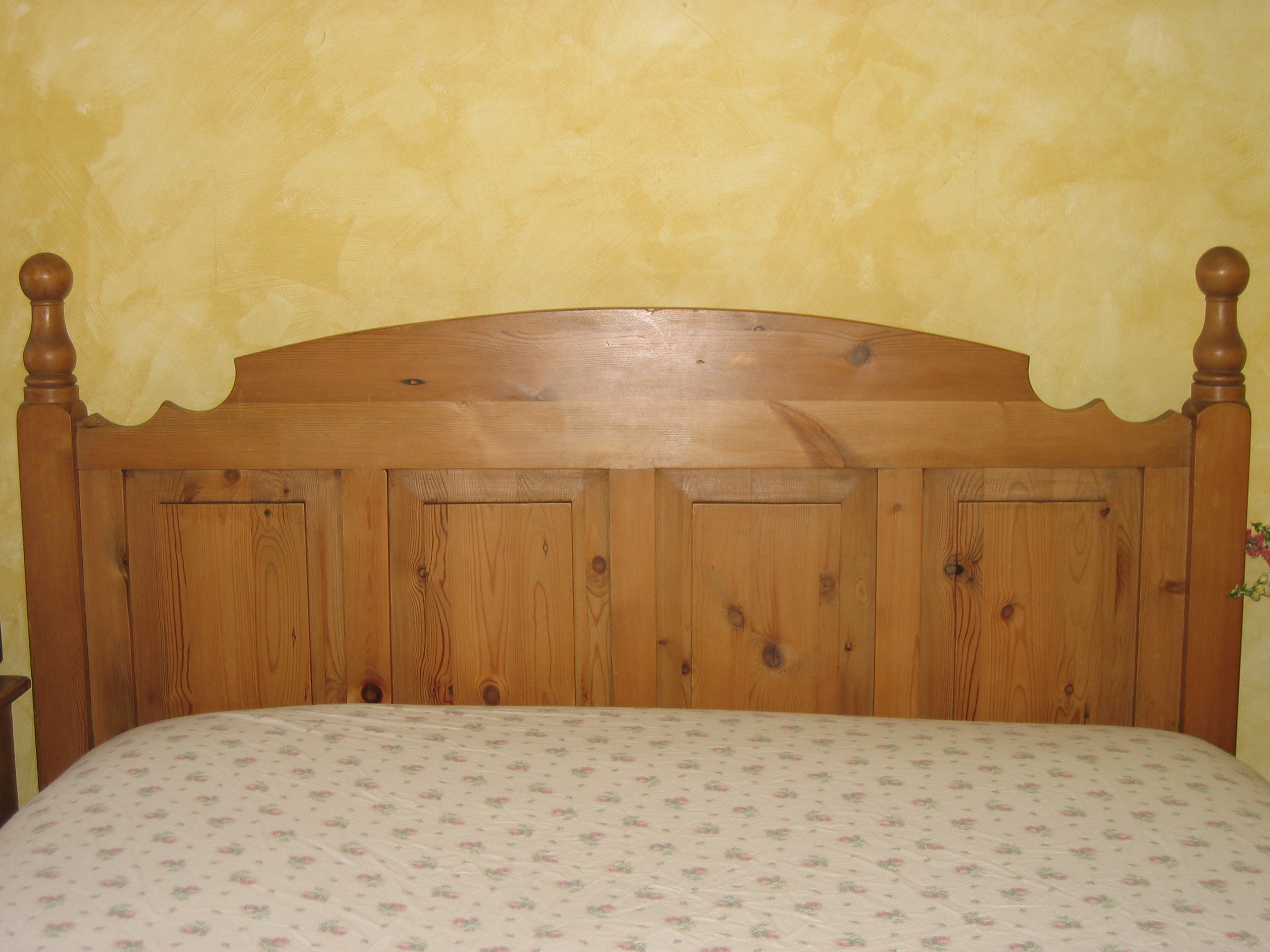 Solid Pine Queen Size Headboard And Footboard For Sale