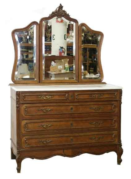 beautiful antique french walnut dresser with 3 part mirror for sale classifieds. Black Bedroom Furniture Sets. Home Design Ideas