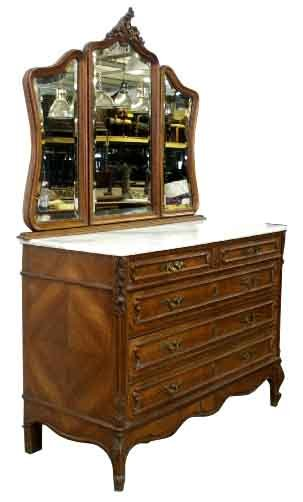 Beautiful Antique French Walnut Dresser With 3 Part Mirror For
