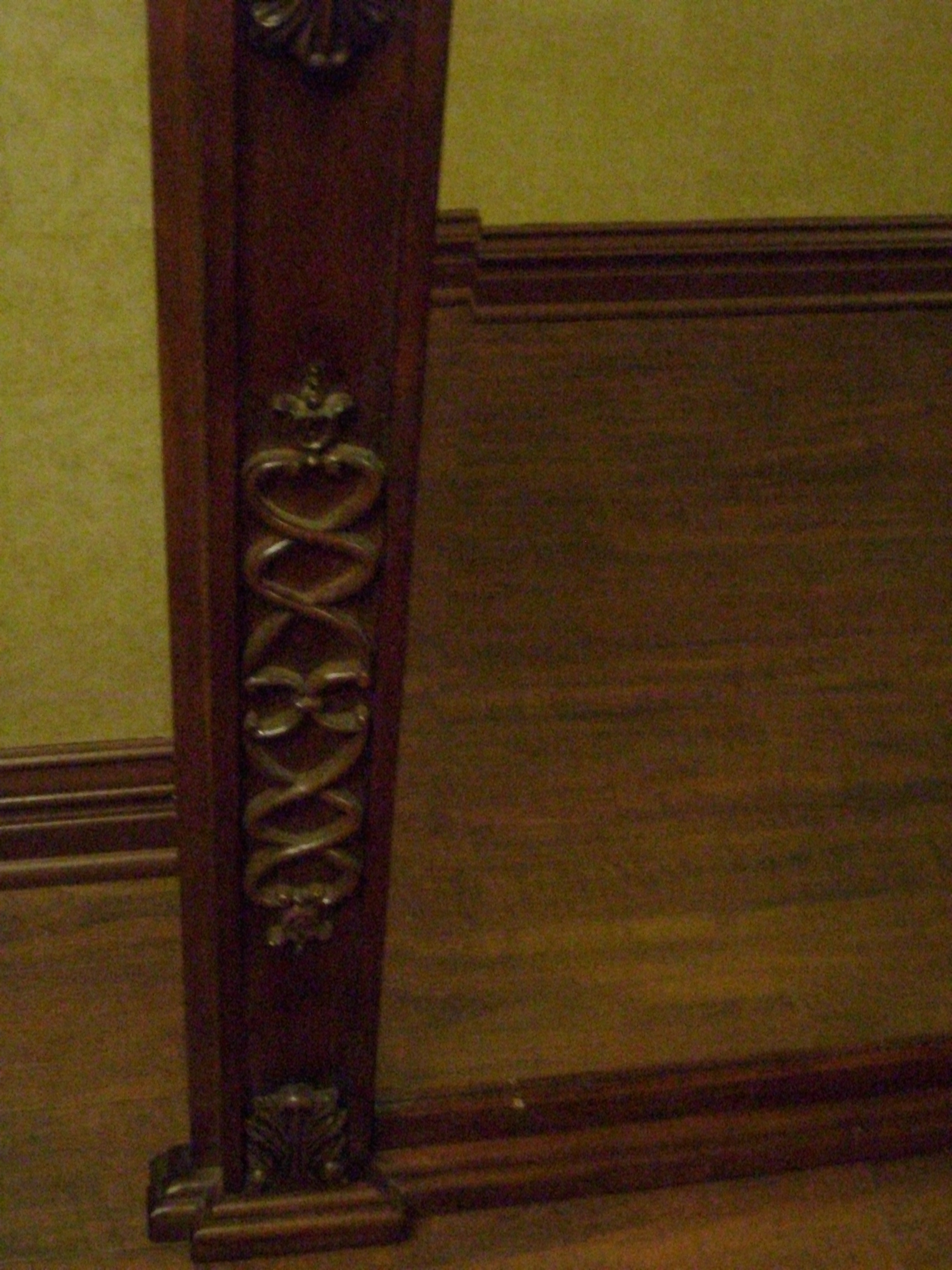 Antique 1880 S Victorian Mahogany English Mantle Wall