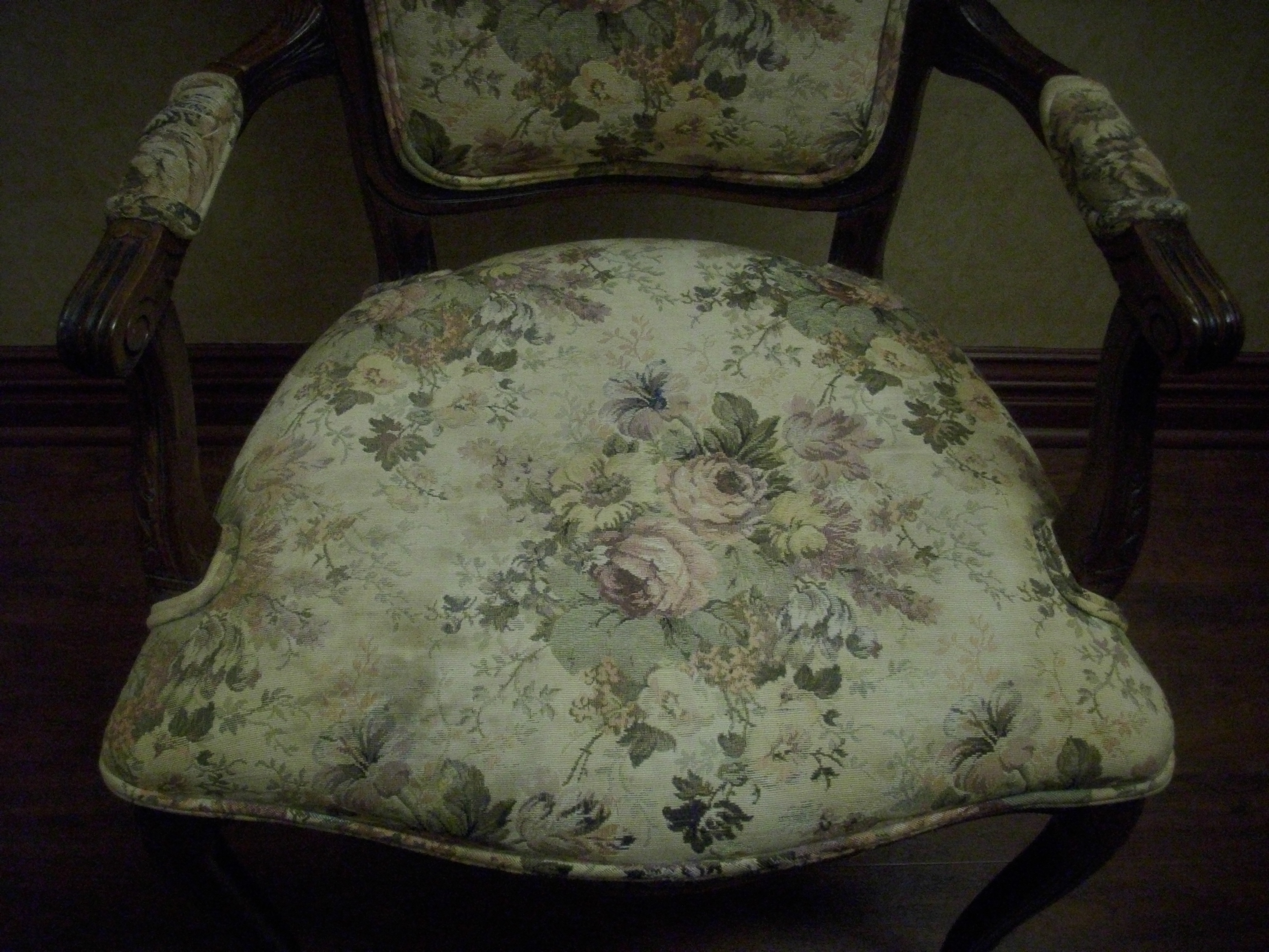 1950s Accent Chairs.Vintage French Provincial Hand Carved Wood Tapestry Accent Chair 37