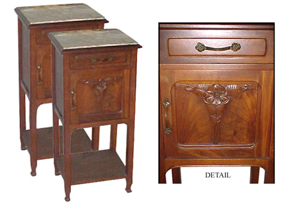 1900Three Piece Walnut Art Nouveau Bedroom Suite With Carved Floral  Details. Suite Includes A Bed, Two Door Armoire, And Marble Top Nightstand.