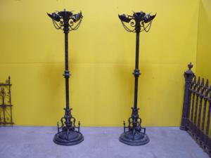 Gothic floor lamp flooring ideas and inspiration gargoyle torchiers gothic pair for antiques clifieds mozeypictures Images