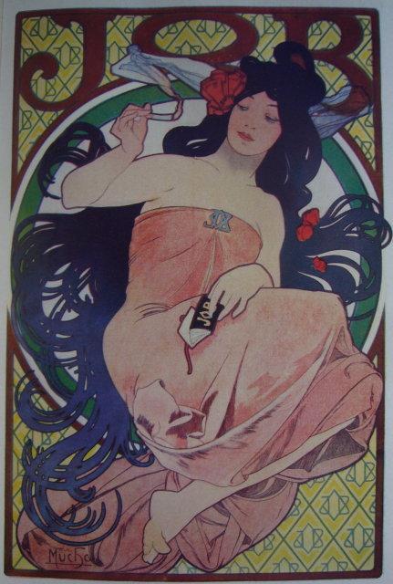 1922 Mini Poster - Alphonse Mucha - JOB Cigarette Paper For Sale