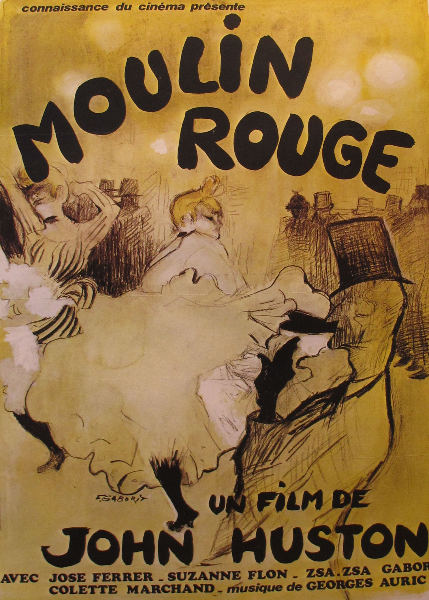 1950S FRENCH MOVIE POSTER, MOULIN ROUGE by JOHN HUSTON ...
