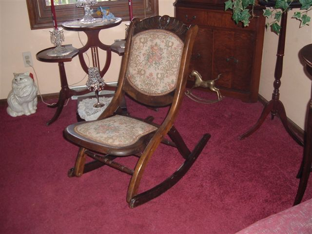 Victorian Ladies Fold Up Rocking Chair   For Sale