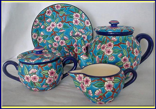 Longwy France  City pictures : ANTIQUE LONGWY FAIENCE TEASET TEAPOT SUGAR For Sale | Antiques.com ...