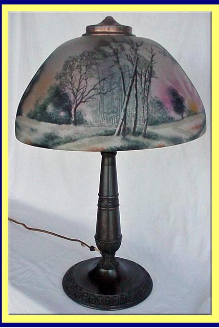 Antique Reverse Painted Lamps For Sale