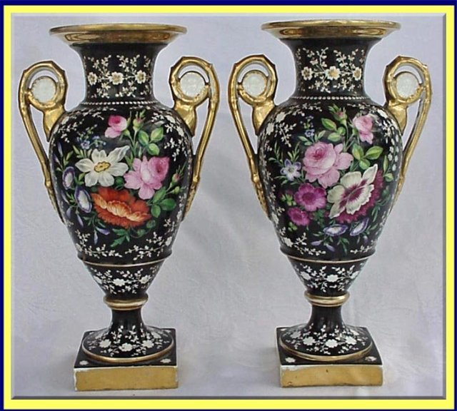 Antique Old Paris Sevres Pr Black Hp Vase For Sale Antiques