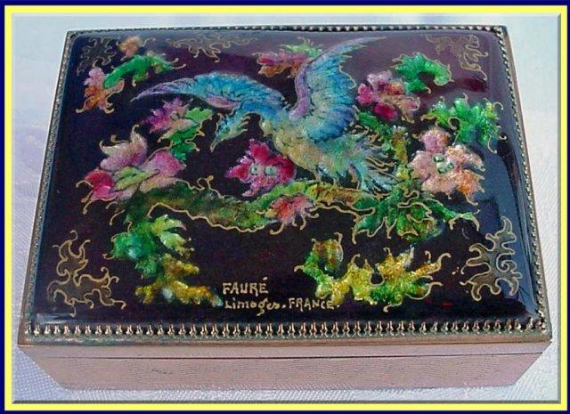 Antique signed faure limoges enamel copper box for sale for Garage faurie limoges