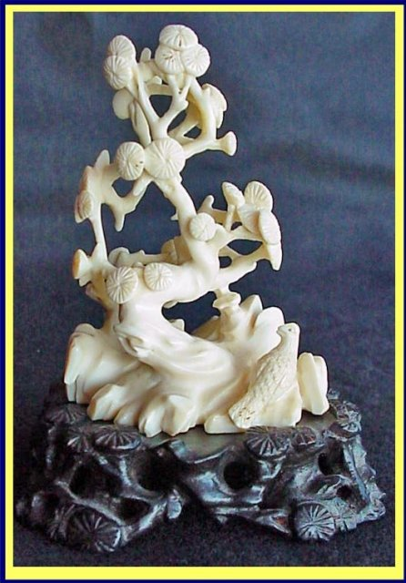 Antique Chinese Carved Ivory Statue Bird Tree Landscape For Sale