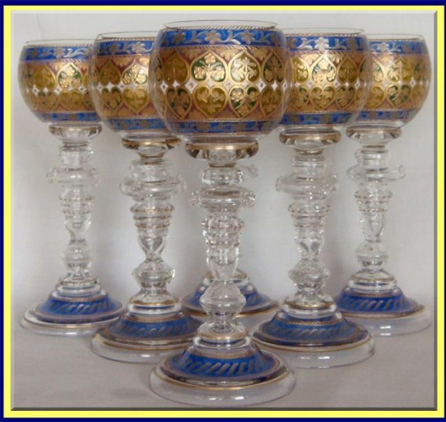 Wine Glasses For Sale Part - 37: Antique Set Of 6 Cut Enameled And Gilded Wine Glass Goblets. Made By Fritz  Heckert In Bohemia (now Czech Republic) 1895. Each Glass Is 7 3/4 Inches  Tall.