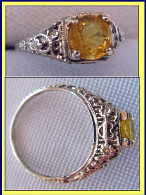 ANTIQUE ENGAGEMENT RING YELLOW SAPPHIRE W GOLD HEARTS For Sale