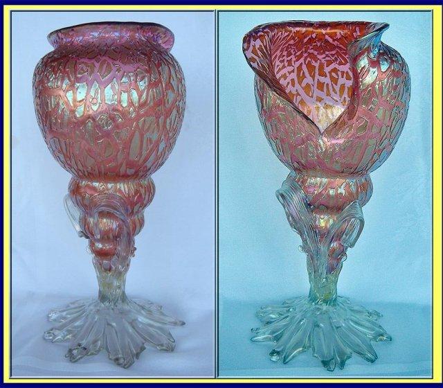 Antique Loetz Bohemian Glass Shell Vase Iridescent For Sale