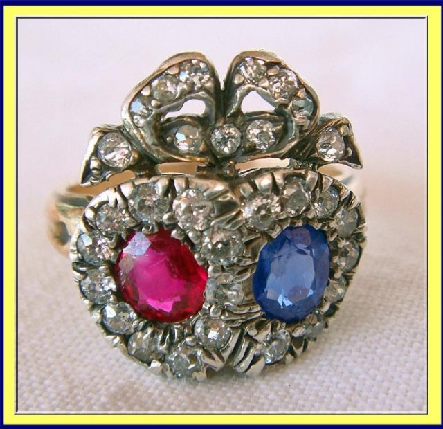 ANTIQUE VICTORIAN HEART RING SAPPHIRE RUBY DIAMOND GOLD For Sale