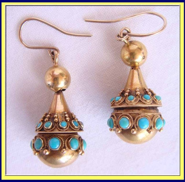 Antique Victorian Etruscan Revival 18carat Gold And Turquoise Earrings Made Circa 1860 1880 Rox 1 8 Inches Long Excluding The Loops