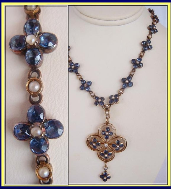 Antique Edwardian Necklace Sapphire Pearls 15k Gold For