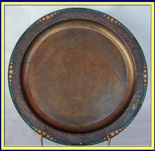 Louis C Tiffany Furnaces Favrile Bronze Enamel Tray For