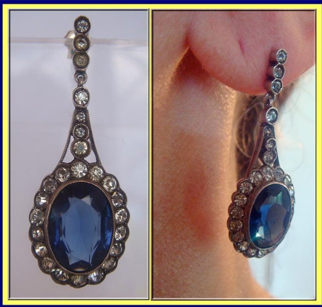 e35035773665d2 Stunning pair of antique late Victorian - Edwardian drop earrings made of  paste sapphire and diamonds, set in silver. Made in France circa 1900.