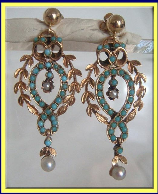Antique Victorian Earrings 14carat Gold Set With Turquoise And Pearls Made 1830 1870 Measurements 1 3 4 Inches Long Weigh 6 9 Grams