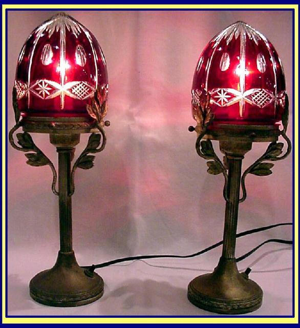 antique pr ruby cut glass lamps bohemia for sale. Black Bedroom Furniture Sets. Home Design Ideas