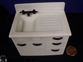Dollhouse Kitchen Sink Dollhouse kitchen sink for sale antiques classifieds dollhouse kitchen sink ivory black plastic this vintage sink and drain board has attached black faucet and five draw handles it is marked k 66 workwithnaturefo