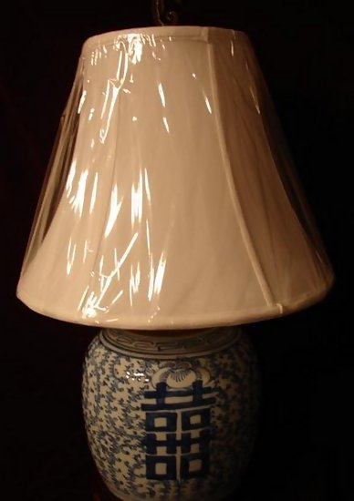 Chinese Blue And White Double Happiness Lamp W Shade For