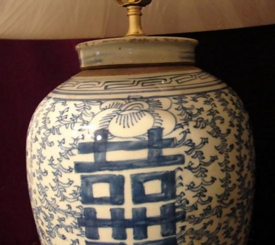 CHINESE BLUE AND WHITE DOUBLE HAPPINESS LAMP W/SHADE For Sale ...