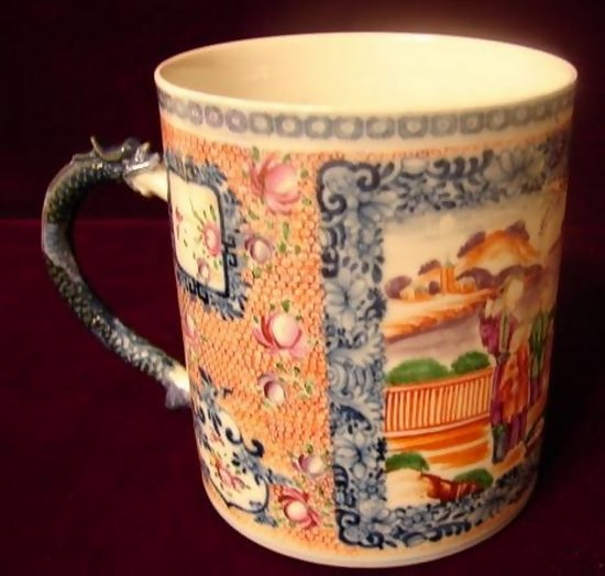 Circa 1770 Chinese Export Huge Mandarin Palette Mug For