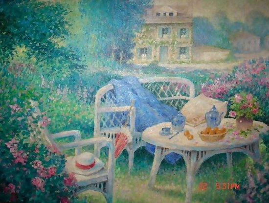 Flowers In Garden Scene With House Pauwels For Sale