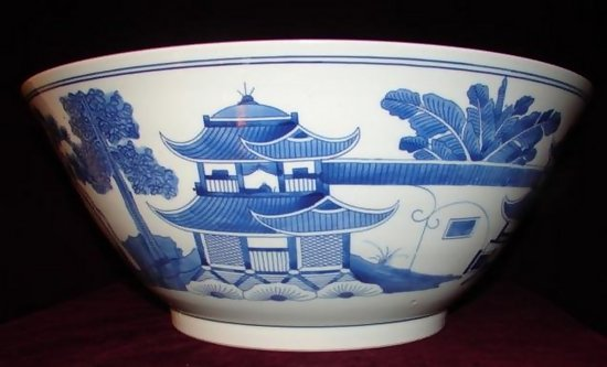 Huge Chinese Export Blue And White Bowl For Sale