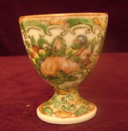 C 1880 Chinese Export Rose Canton Butterfly Egg Cup For