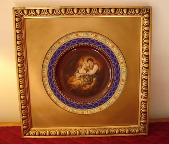 19th Century Framed Royal Vienna Plate W Bee Hive Mark For