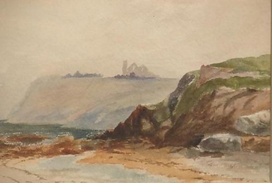Antique 19th Century Watercolor Painting Seascape For Sale