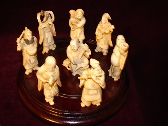 C1890 1920 Set Of 8 Carved Ivory Chinese Figures For Sale