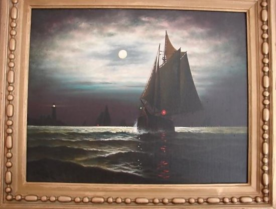 E Weber Sailing Ships Navigating By Night With Moon For