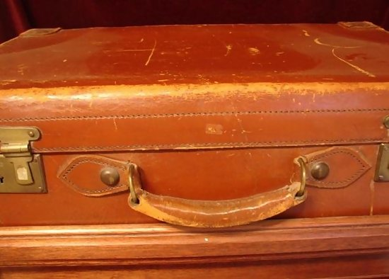 C.1900 LEATHER SUITCASE W/CUSTOM MADE STAND For Sale | Antiques ...