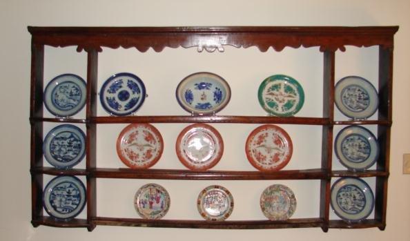 C 1800 English Oak Hanging Shelf Plate Rack For Sale