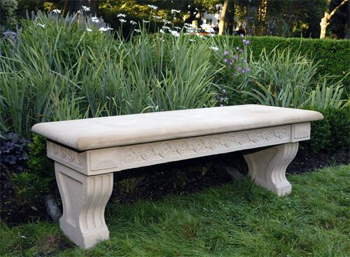 Fine Contemporary Classical Inspired Stone Garden Bench Called The Hawthorne Bench For Sale