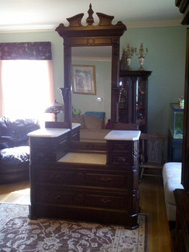 8 Antique Marble Top Princess Dresser With Full Length Mirror For