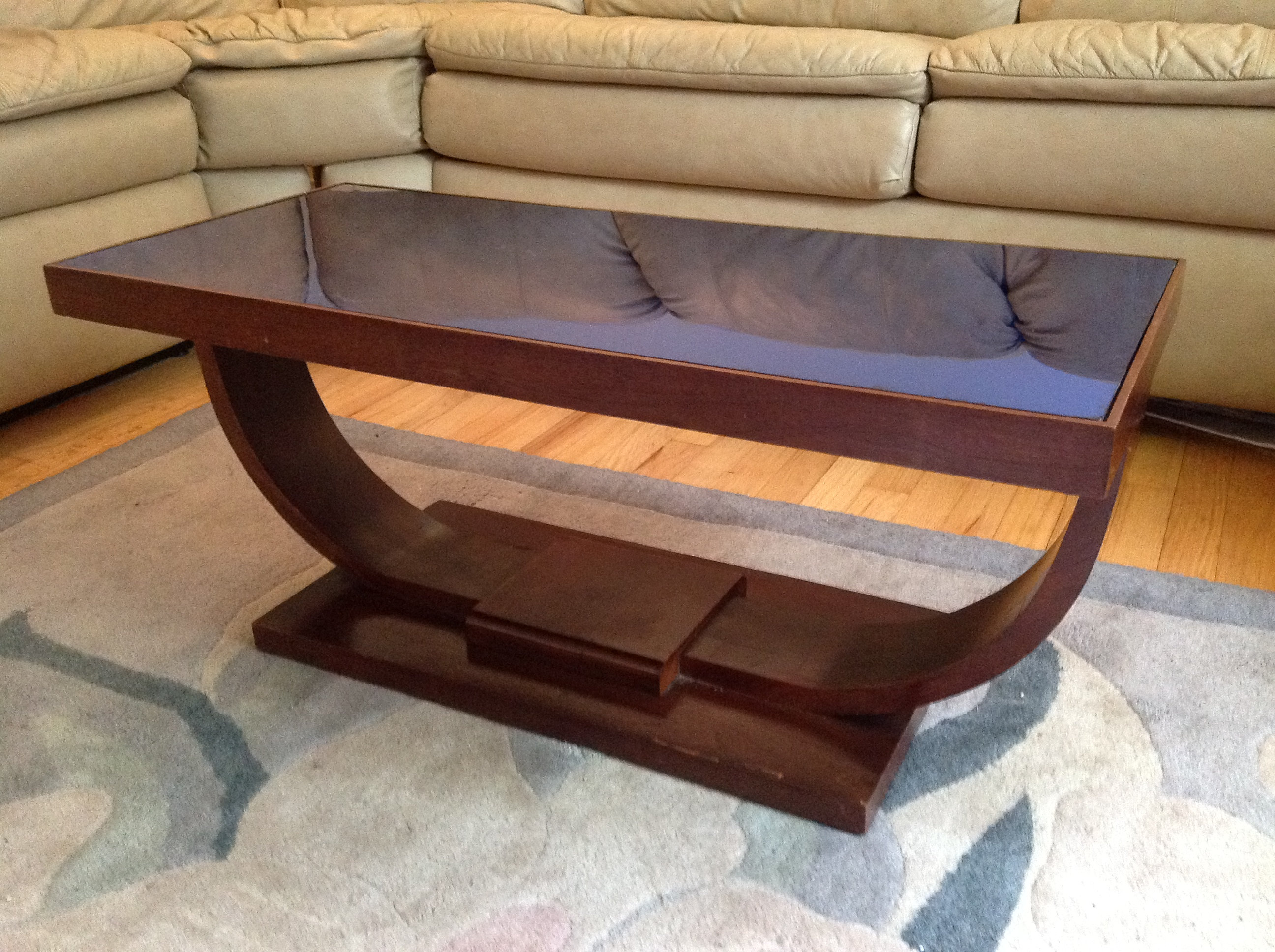 Art Deco blue mirror top cocktail table For Sale