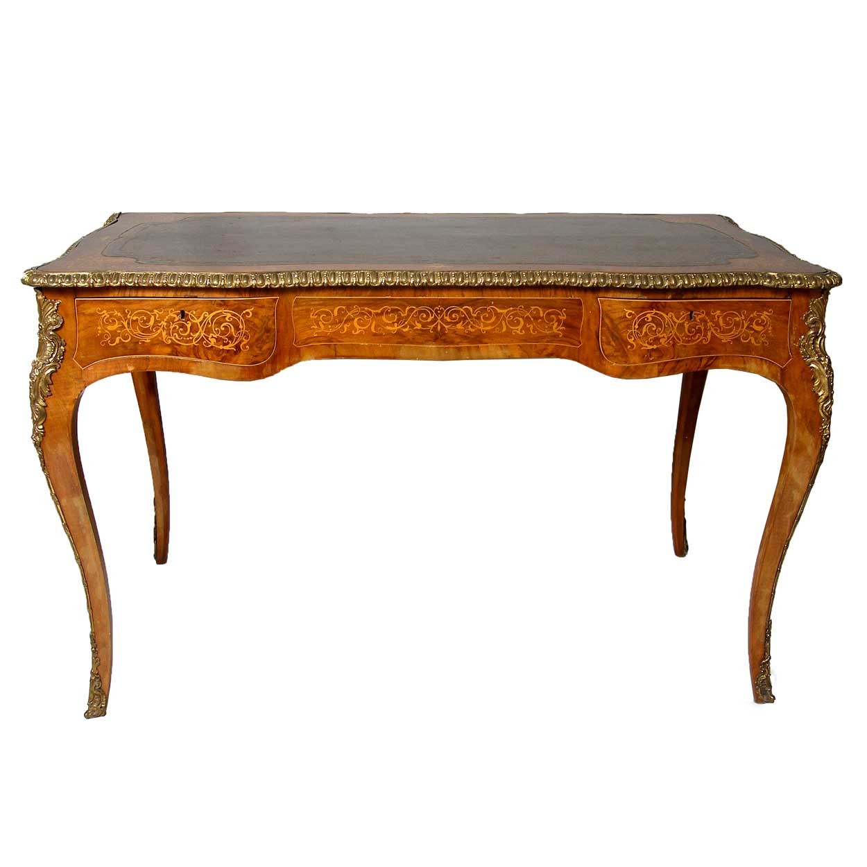 ref t2839 french louis xv style walnut marquetry leather top bureau plat for sale antiques. Black Bedroom Furniture Sets. Home Design Ideas