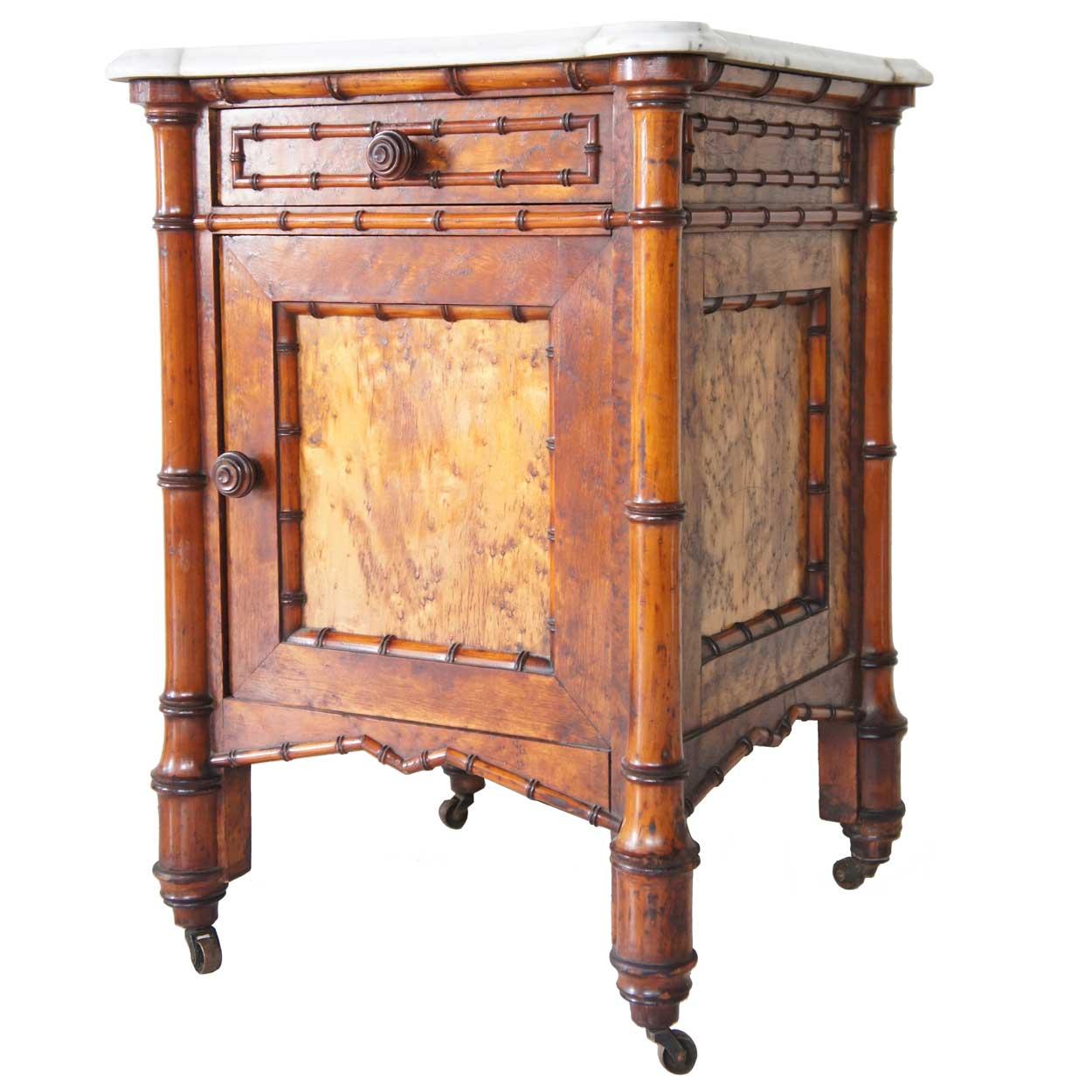 Ref B 84 0001 6 Seven Piece American R J Horner Birdseye Maple Faux Bamboo Bedroom Suite For