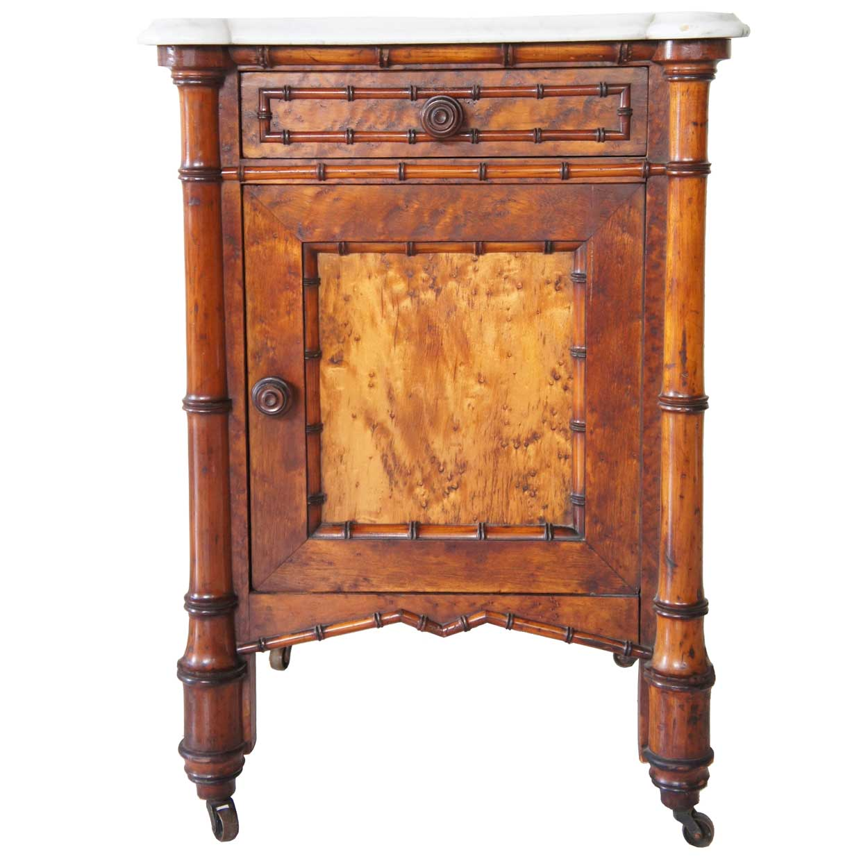 Seven Piece American R J Horner Birdseye Maple Faux Bamboo Bedroom Suite For Sale Antiques