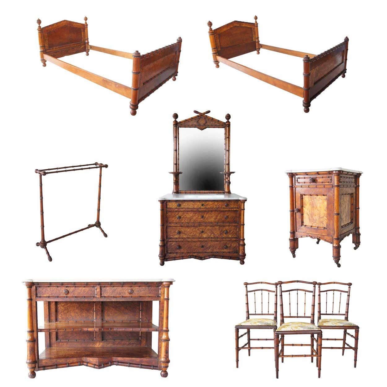 Seven piece american r j horner birdseye maple faux for Bamboo bedroom furniture