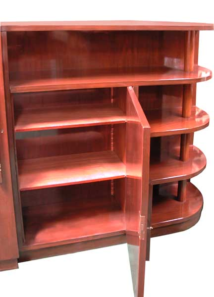 Style:ART DECO Condition:Mint Year:1925Wonderful mahogany Art Deco Bookcase  with rounded ends and open shelving. This beauty has great styling and  quite ...