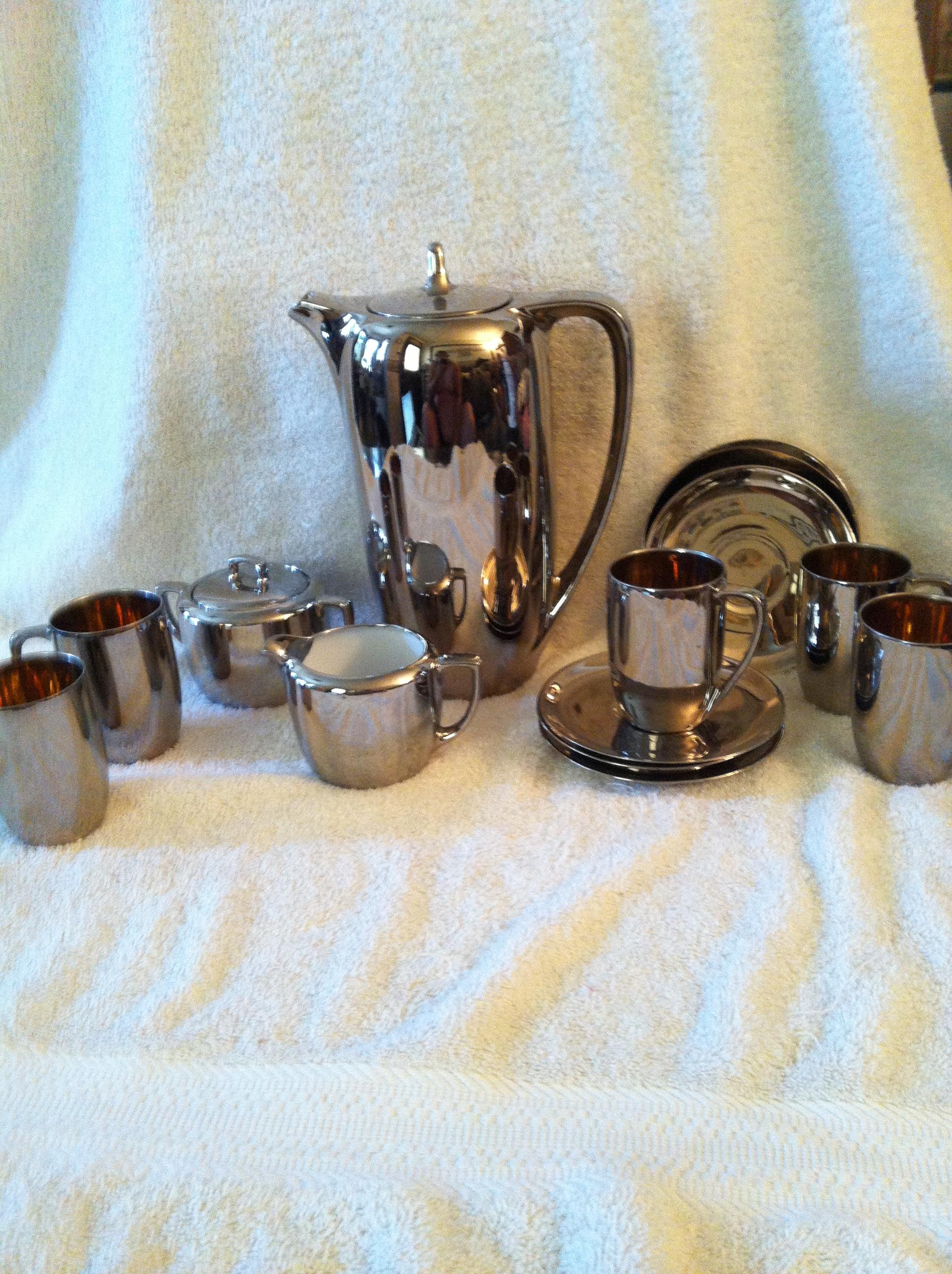 ANTIQUE FRENCH CHROME COFFEE / TEA SET MERCURY GLASS n MZ